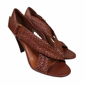 Antonio Melani Woven Cross Strap Leather Heels